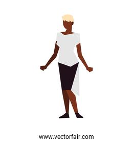 afro american woman with blonde hair standing character isolated icon