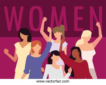 women rights feminist, female group hands up characters