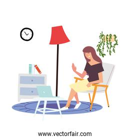 girl sitting on chair with laptop in table, indoor activities