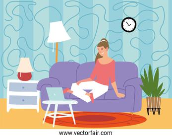 female character is sitting in a sofa and working on a laptop, indoor activities
