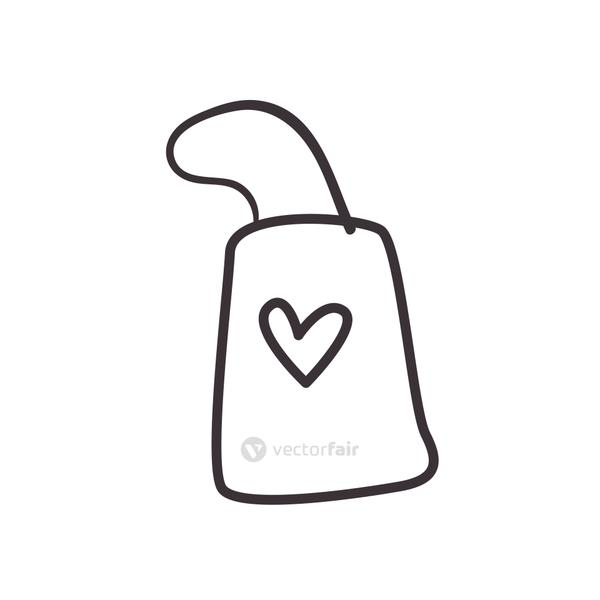 Heart on bag daily sticker line style icon vector design