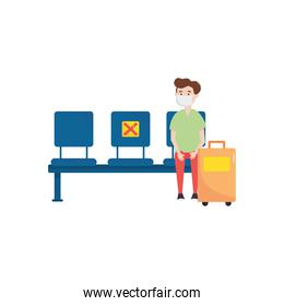traveler man with suitcase keeping a social distancing on seats, flat style