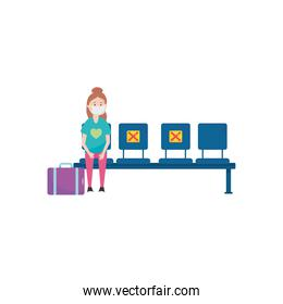 traveler woman with suitcase keeping a social distancing on seats, flat style
