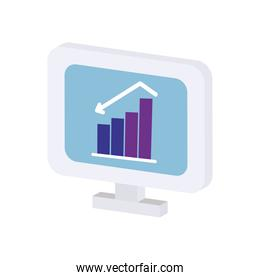 icon of computer with financial bar chart on screen, flat style