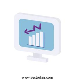icon of computer with bar chart on screen, flat style