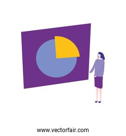 cartoon woman with presentation board with graphic pie chart, flat style
