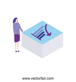 cartoon woman showing a table with graphic bar chart, flat style