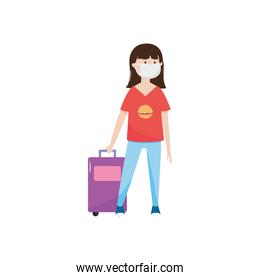 cartoon young woman with mouth mask and travel suitcase, flat style