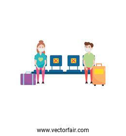 cartoon traveler man and woman with suitcases and sitting keeping the social distance, flat style
