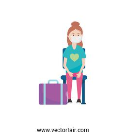 cartoon woman with suitcase and medical mask sitting, flat style