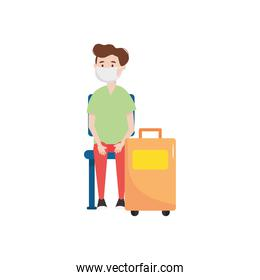 cartoon man with suitcase and medical mask sitting, flat style