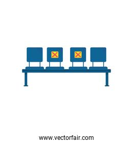 social distancing on seats, flat style