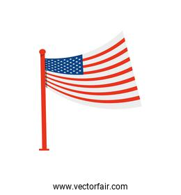 national united states of america flag with pole