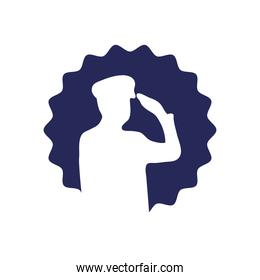 seal with silhouette of patriotic soldier saluting icon