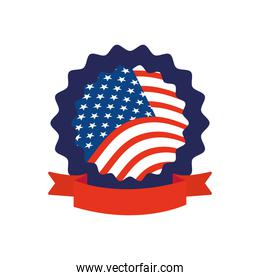 seal with usa flag design with decorative ribbon