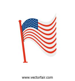 icon of wavy american flag with pole