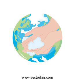 earth planet and hands washing with soapy foam, flat style
