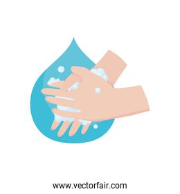 hands washing and water drop, flat style