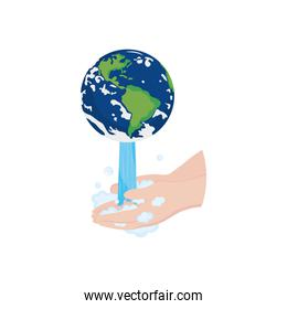 earth planet falling water and washing a hands, flat style