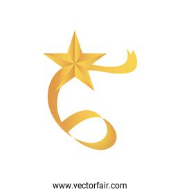 golden ribbon with decorative star