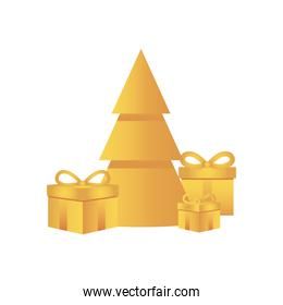 golden christmas tree and gift boxes around