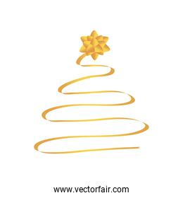 golden ribbon in christmas tree shape with golden gift bow on the top