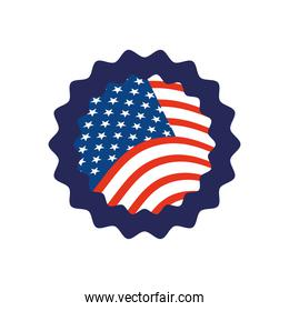 seal with usa flag design, flat style