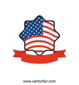 decorative ribbon with seal star with usa flag design