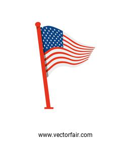 united states of america flag with pole over white background