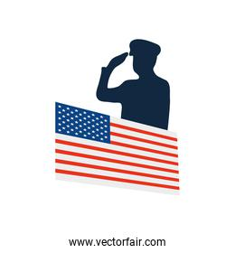 silhouette of patriotic soldier saluting and usa flag icon
