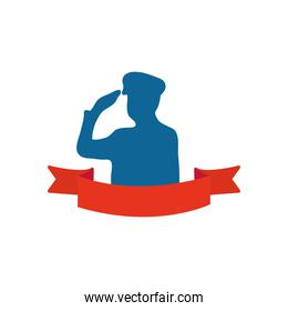 silhouette of patriotic soldier saluting and decorative ribbon