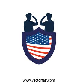 silhouette of patriotic soldiers saluting and shield with usa flag design
