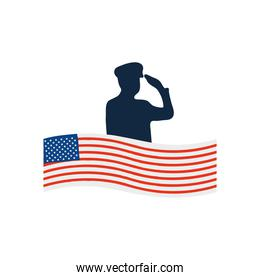 usa flag and silhouette of patriotic soldier saluting icon