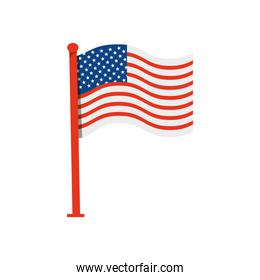 united states of america flag with pole
