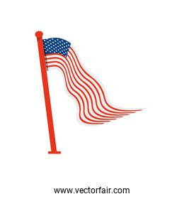 wavy usa flag with pole icon