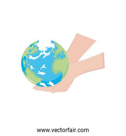 hands holding a earth planet, flat style