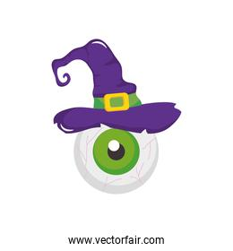 halloween eye with witch hat, flat style