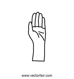 icon of human hand, line style design