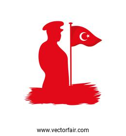 silhouette of soldier with turkey flag, flat style