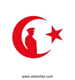 turkey star and crescent moon with silhouette soldier, flat style
