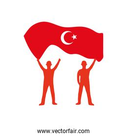 silhouette of soldiers holding up a turkey flag, flat style