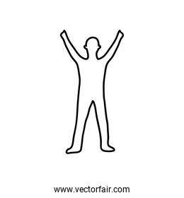 soldier standing with arms up, flat style