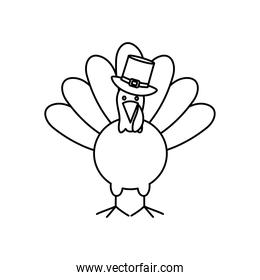 cartoon turkey with pilgrim hat, line style