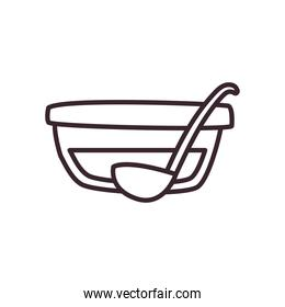 Wine punch bowl and spoon line style icon design