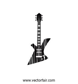 guitar electric instrument black and white style icon vector design