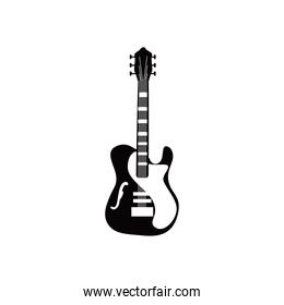 guitar acoustic instrument with ornament black and white style icon vector design