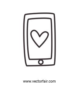 smartphone with heart daily sticker line style icon vector design