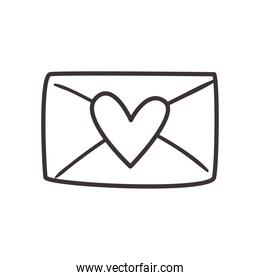 Love card with heart daily sticker line style icon vector design