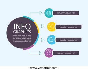 infographic business promotion data badge arrows composition template