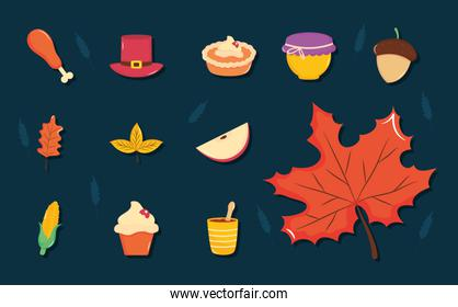 thanksgiving icon set, flat style